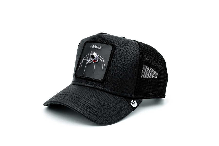Goorin Bros - Goorin Bros Deadly Encounter ( Karadul Örümcek Figürlü ) Deri Görünümlü Şapka 101-0821 (1)