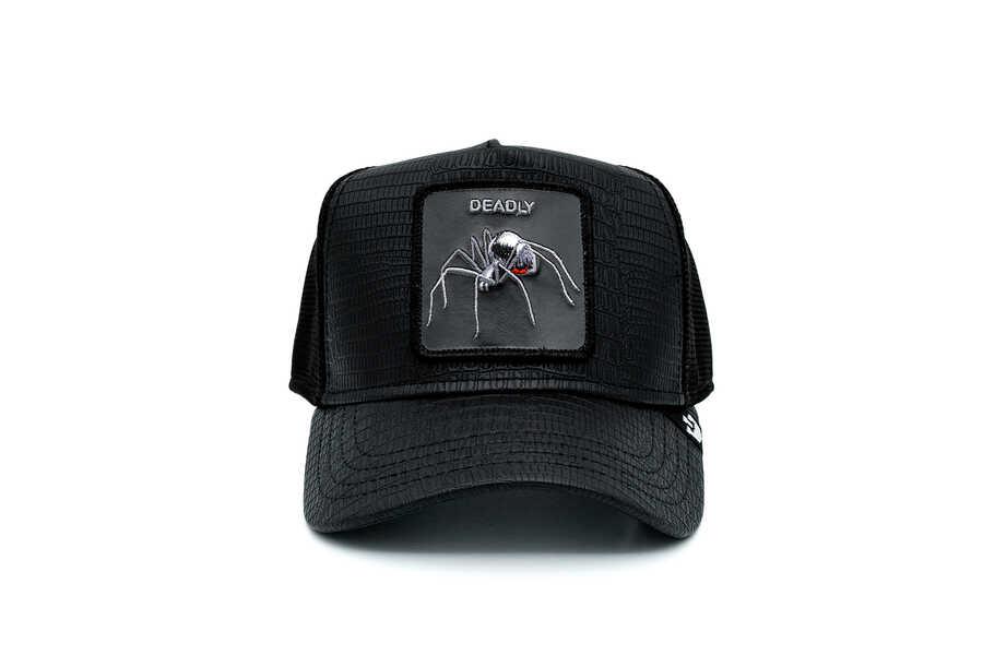 Goorin Bros - Goorin Bros Deadly Encounter ( Karadul Örümcek Figürlü ) Deri Görünümlü Şapka 101-0821