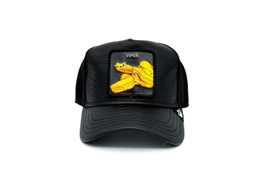 Goorin Bros - Goorin Bros Night Viper ( Yılan Figürlü) Deri Görünümlü Şapka 101-0823